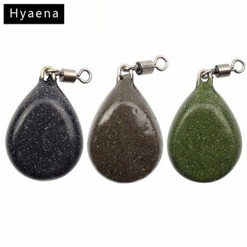 Hyaena 56g 3pcs Carp Fishing Flat Pear Leads Dark Camo Black Brown Green Muddy Smooth Casting Pear Lead Weights With Swivel