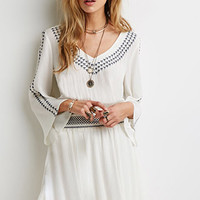 Embroidered Gauze Peasant Dress
