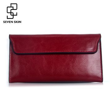Famous Brand 2017 Genuine Leather Women Wallet Long Purse Vintage Solid Cowhide Multiple Cards Holder Clutch Carteira Feminina