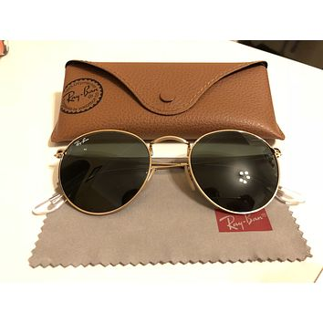 Ray-Ban RB3447 50 Round Metal Gold Sunglasses