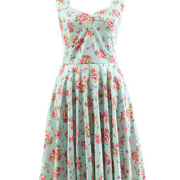 Blue Floral Sweetheart Neckline Sleeveless Halter Backless A-Line Pleated Mini Dress