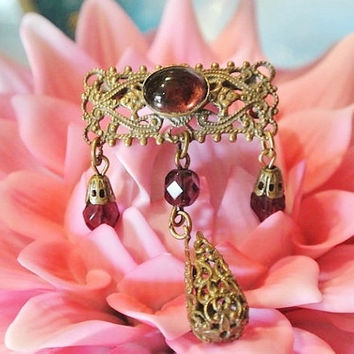 Art Deco Amethyst Glass Brooch 1920s Antique Brass Filigree Dangle Brooch Purple Faceted Cabochon Pin Flapper Era Gatsy Jewelry Estate