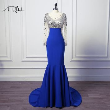 ADLN New Arrival Luxury Rhinestone Evening Dresses Jersey Scoop Sexy Long Sleeve Mermaid Prom Gown Customized Long Party Wear