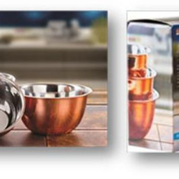 3 Piece Stainless Steel and Copper Mixing Bowls - CASE OF 12
