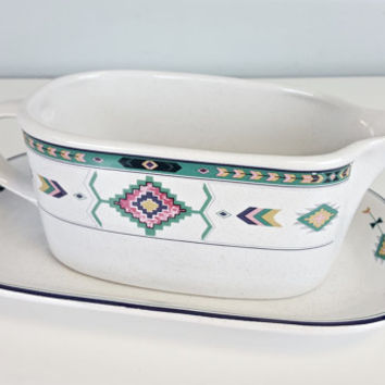 Vintage Gravy Boat Boho Navajo Aztec Tribal Arrow Southwest Pastel Studio Nova Adirondack Pattern Gravy Boat Boho Chic Kitchen Home Decor