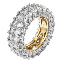 Solitaire Eternity Round Brilliant Cut Ring Wedding Band Women 925 Silver Yellow
