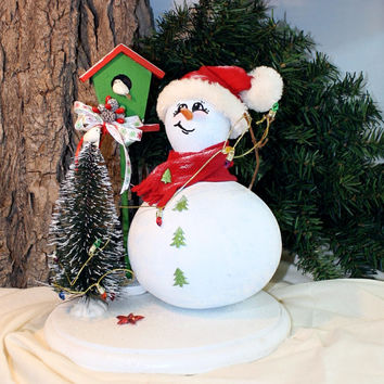 Snowman, hand painted gourd, diorama with birdhouse,and Christmas tree, winter holiday decor, OOAK gourd art by Debbie Easley