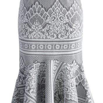 Baroque Lace Grey Frill Hem Skirt
