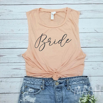 bride tank, bride muscle tank, bride tank top, muscle tank, getting married, engaged tank, bachelorette tank, bride gift, gift for bride