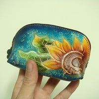 Handtooled Sunflower Women leather coin purse ( Blue )