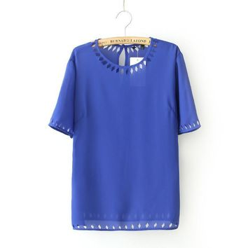 Autumn Hollow Out Round-neck Short Sleeve Chiffon Blouse Women's Fashion T-shirts [6050435329]