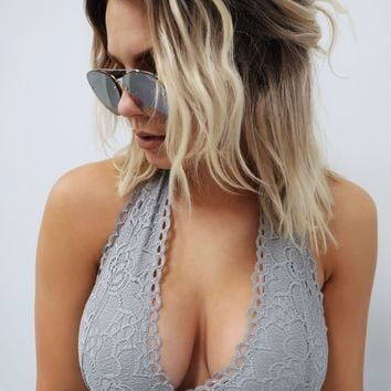 Restock: Lace Craze Bralette: Grey