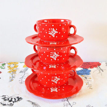 3 Red Waechtersbach Butterfly and Polka Dots Soup Bowls and Plates, Waechtersbach Germany Soup Mug & Plate, Oversized Cup and Saucer