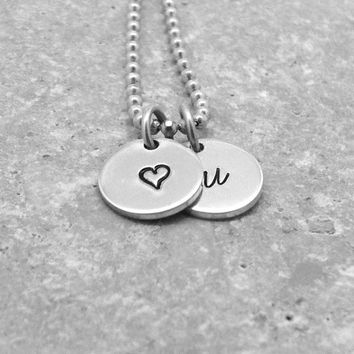Heart Initial Necklace, Small Heart Necklace, Sterling SIlver Jewelry, Initial Jewelry, Charm Necklace, Letter u Necklace, u, Heart Jewelry