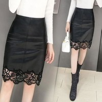 2017 New Pu Material Lace Design Skirts Womens Faldas Leather Skirt 93