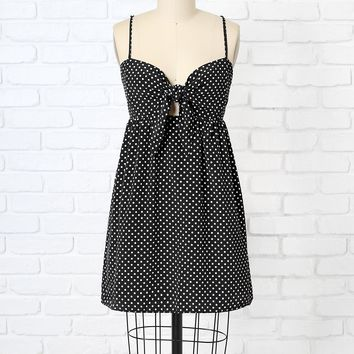 Polka Dot Tie Front Mini Dress