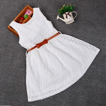 Girl Sleeveless Lace Vest Dress - Available 2 Color Options