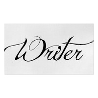 Chic Black White Calligraphy Script Writers Author Business Card