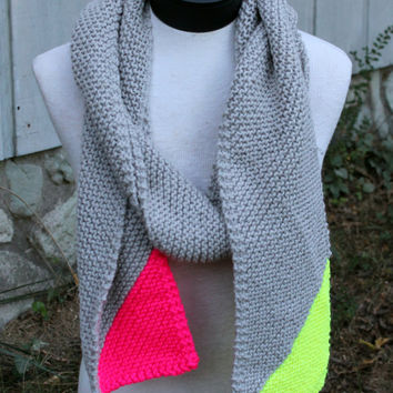 Hand Knit Scarf - diagonal pattern squishy grey with neon pink and yellow ends