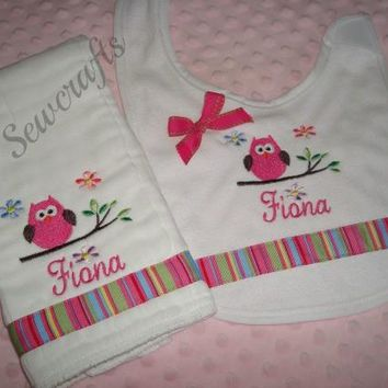Fiona Personalized Burp Cloth and Bib - Choice of Name and/or up to 3 monograms