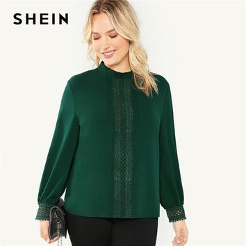 SHEIN Plus Size Green Stand Collar Lace Applique Women Solid Blouse 2018 New Office Lady Long Sleeve Autumn Workwear Top Shirts