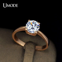 UMODE Rose Gold Plating 4 Prongs 1.25 Carat Single CZ simulated Diamond Simple Engagement Rings JR0136A