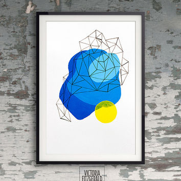 Minimalist Blue and Yellow Abstract Geometric Art, A4 print, Handpainted, Ink Pen Triangles