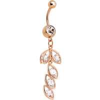 Clear Cubic Zirconia Rose Gold Plated Leaf Drop Dangle Belly Ring | Body Candy Body Jewelry