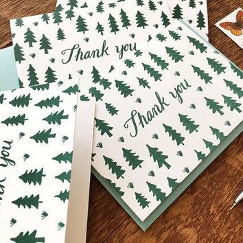 Pine Tree Pattern Thank You Cards, Thanks, Boxed Set of 8