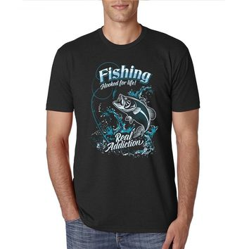 Fishing Hooked For Life Real Addiction T-Shirt