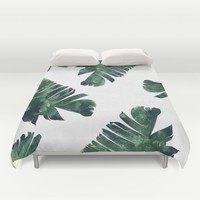 Banana Leaf Watercolor Pattern #society6 Duvet Cover by 83oranges.com