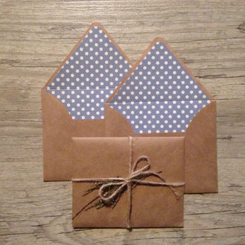 Wedding envelopes - set of 50 - wedding invitation envelopes - brown blue polka dotted - kraft eco friendly crafted - MADE TO ORDER
