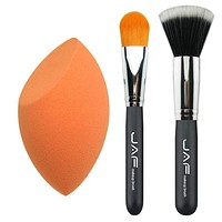 3 Pcs in One Set Makeup Sponge Blender Egg plus Stippling Brush and Classic Foundation Brush