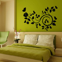 Flower Wall Decals Rose Butterfly Flowering Blossom Stickers Living Room Decor Vinyl Decal Sticker Art Mural Bedroom Kids Room Decor MR322