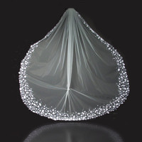 Crystal Petal Veil Cathedral Length 108 inches by CorrineONeill
