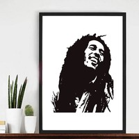 2016 HOT Bob Marley image canvas painting poster wall art Wedding gifts home decor pictures modern paintings 7 sizes