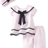 Rare Editions Baby Girls 3 Piece Top, Pants and Hat Nautical Sailor Dress Set - 6-9 Months