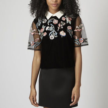 Embroidered Collar Tee - Topshop