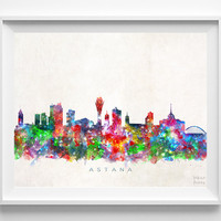 Astana Skyline Print, Kazakhstan Print, Astana Poster, Cityscape, Watercolor Painting, Wall Art, Dorm Room Decor, Christmas Gift