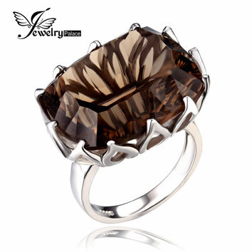 JewelryPalace Huge Gem Stone 23ct Natural Smoky Quartz Rings For Women Concave Genuine 925 Sterling Silver Fine Jewelry Brand