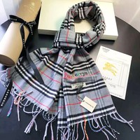 Burberry Fashion Women New Embroidery Letter Colorful Plaid Rainbow Tassel Keep Warm Scarf