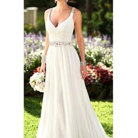 Ivory White Sleeveless Floor-Length Backless Wedding Dress