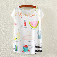 Summer Nail Polish Watermelon Print Bat Short Sleeve Women's Fashion T-shirts [4919391236]
