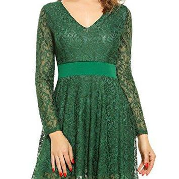 Zeagoo Women Summer V-Neck A-Line Hollow Floral Lace Dress Short Party Evening Dresses