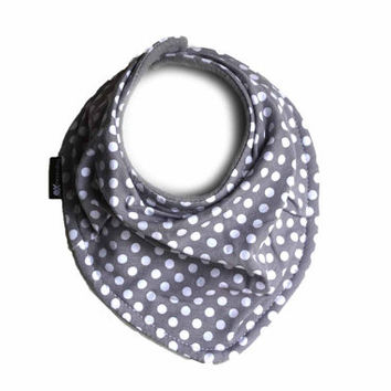Gray and white polka dots - Infant and/or Toddler bandana bib - Drool bib - Scarf bib in soft fabric