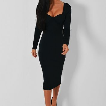 Mikko Black Bodycon Midi Dress | Pink Boutique