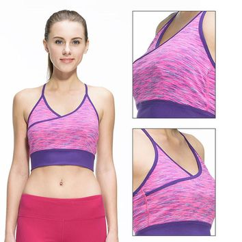 Women Fitness Sexy Yoga Sports Bra for Running Sports Gym Athletic Top Bra Breathable Padded Stretch Push Up Underwear for Women