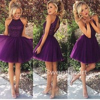 Purple sequin Tulle Short Prom Dress, Homecoming Dresse from Sweetheart Girl