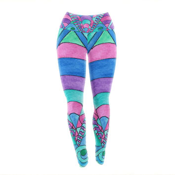 "Rosie Brown ""Gatsby Inspired"" Blue Pink Yoga Leggings"