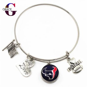 NEW Football Sports Adjustable I Love Football Charms Expandable Women Bangle Bracelets With Houston Texans Team Snaps Buttons